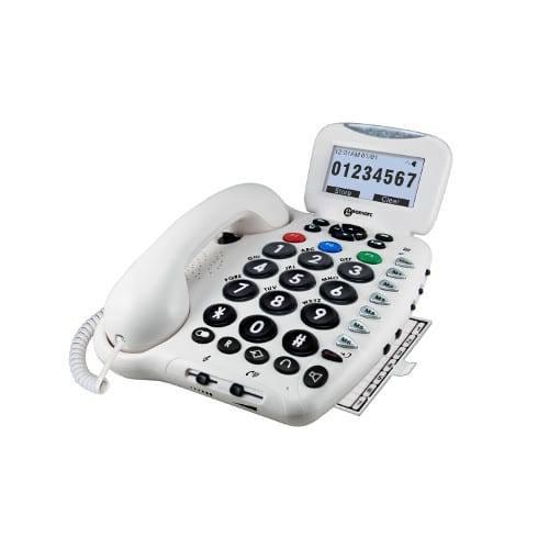 GEEMARC CL 555 Többfunkciós telefon Hallókészülék kompatibilis, saját üzenetrögzítő, kihangosítható, opcionális rezgőpárna