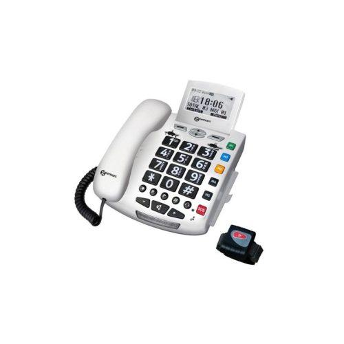 GEEMARC Serenities Segélyhívó telefon SOS segélyhívó funkció, távirányítós csuklópánt, LCD kijelző, hívószám azonosítás, kihangosítható